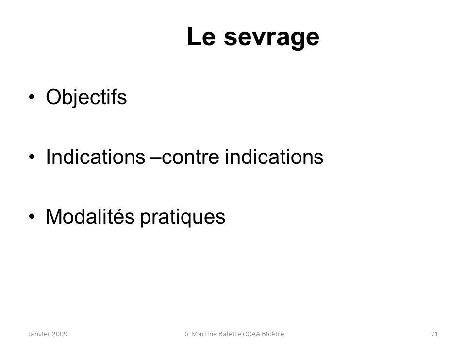 Janvier 2009Dr Martine Balette CCAA Bicêtre71 Le sevrage Objectifs Indications –contre indications Modalités pratiques