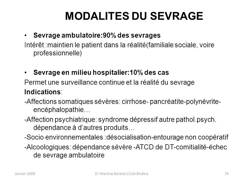 Janvier 2009Dr Martine Balette CCAA Bicêtre74 MODALITES DU SEVRAGE Sevrage ambulatoire:90% des sevrages Intérêt :maintien le patient dans la réalité(f
