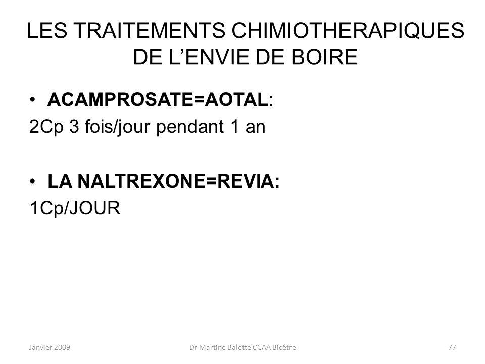 Janvier 2009Dr Martine Balette CCAA Bicêtre77 LES TRAITEMENTS CHIMIOTHERAPIQUES DE LENVIE DE BOIRE ACAMPROSATE=AOTAL: 2Cp 3 fois/jour pendant 1 an LA