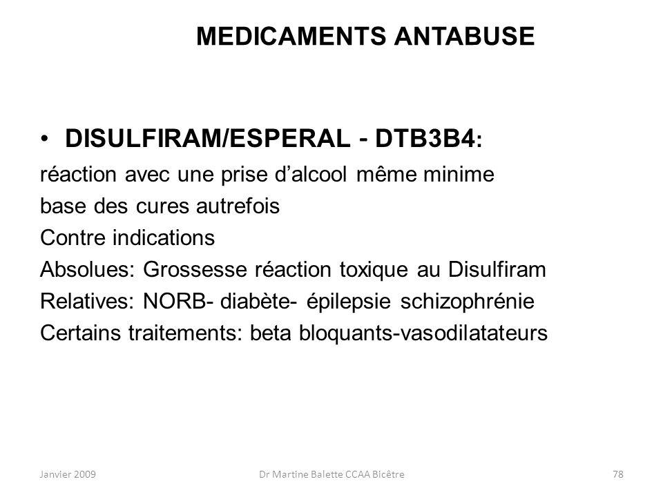 Janvier 2009Dr Martine Balette CCAA Bicêtre78 MEDICAMENTS ANTABUSE DISULFIRAM/ESPERAL - DTB3B4 : réaction avec une prise dalcool même minime base des