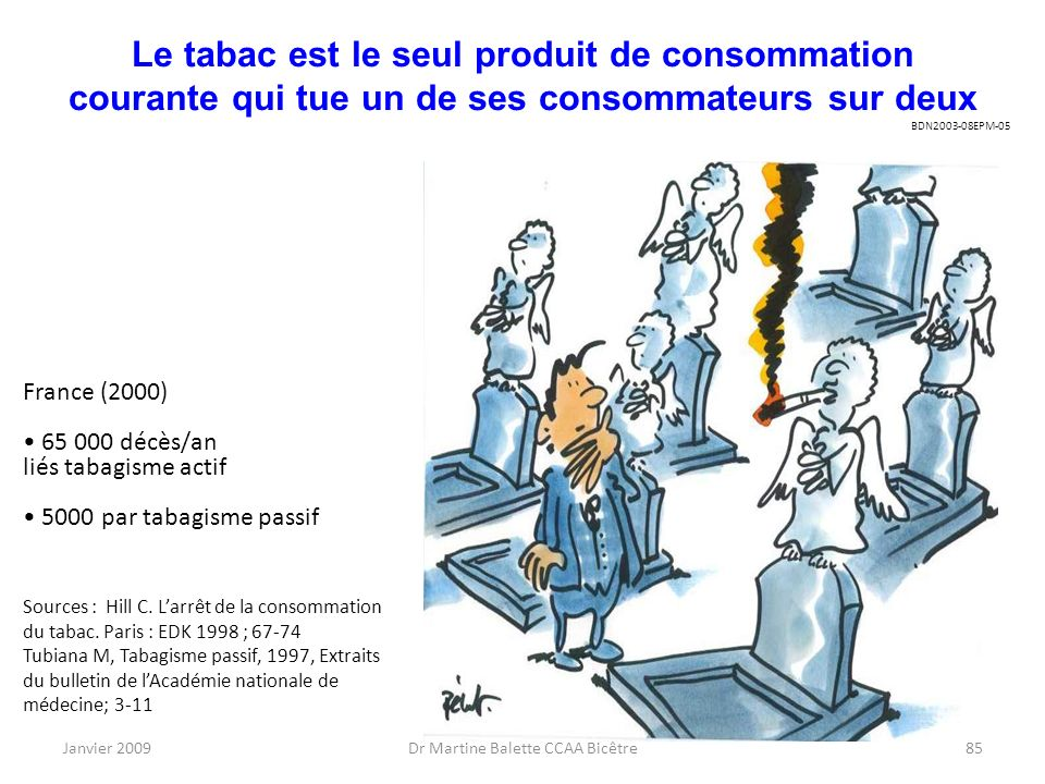 Janvier 2009Dr Martine Balette CCAA Bicêtre85 Le tabac est le seul produit de consommation courante qui tue un de ses consommateurs sur deux France (2