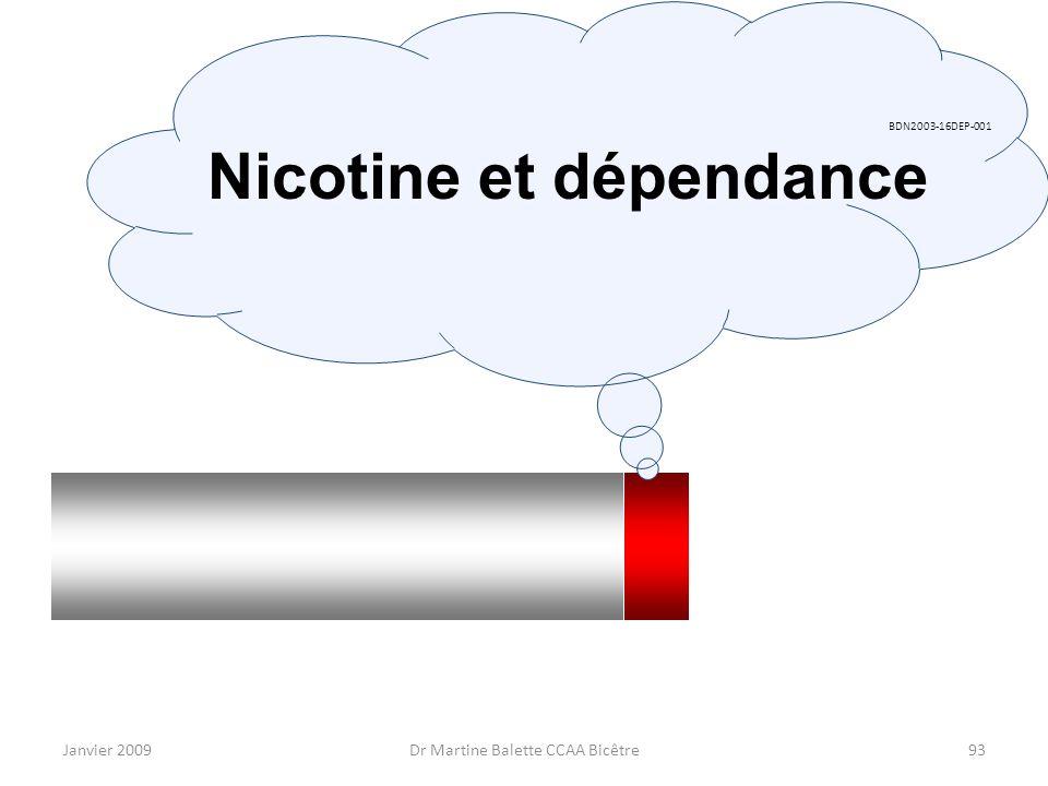 Janvier 2009Dr Martine Balette CCAA Bicêtre93 BDN2003-16DEP-001 Nicotine et dépendance