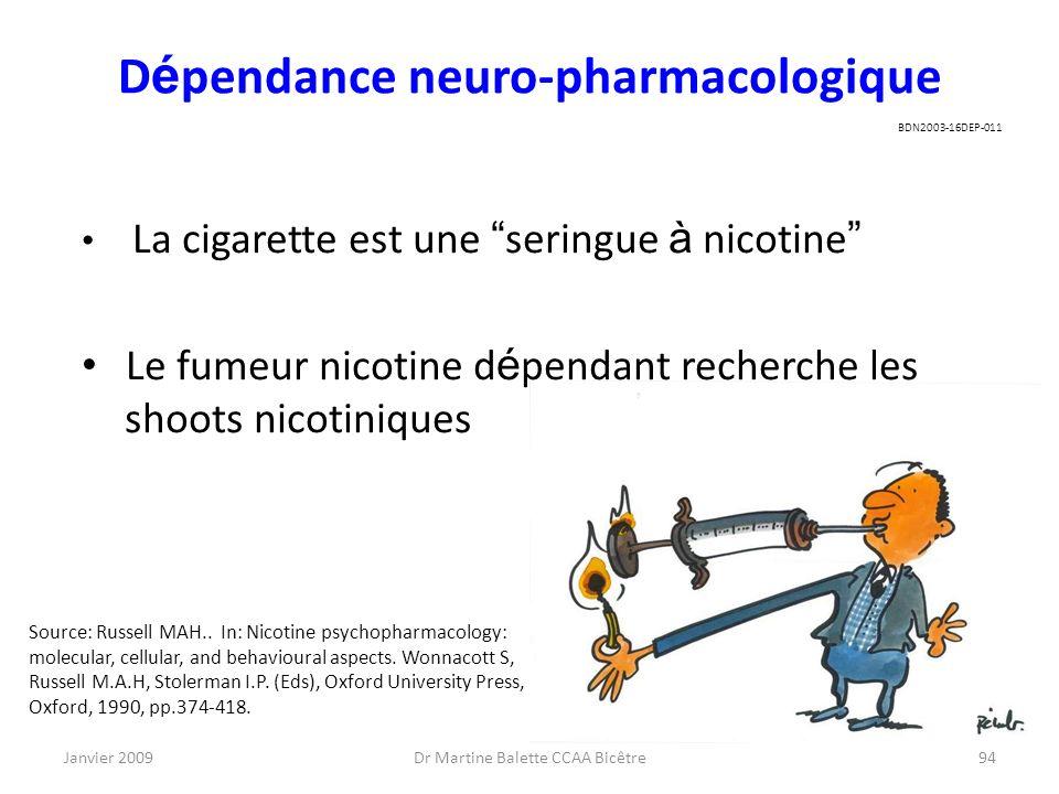 Janvier 2009Dr Martine Balette CCAA Bicêtre94 D é pendance neuro-pharmacologique La cigarette est une seringue à nicotine Le fumeur nicotine d é penda