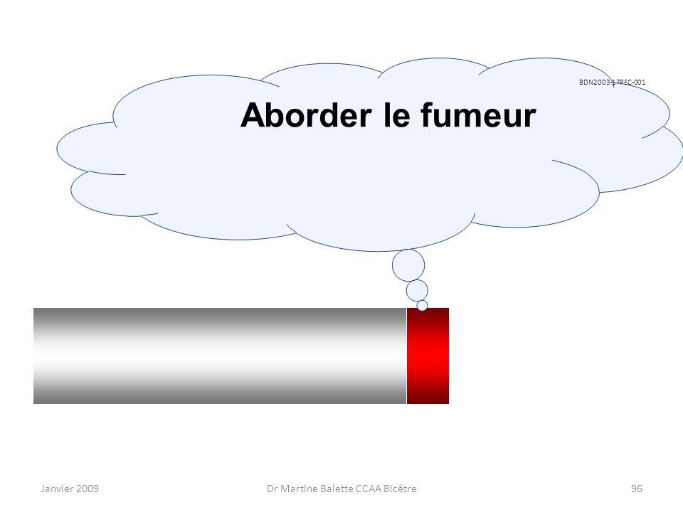 Janvier 2009Dr Martine Balette CCAA Bicêtre96 BDN2003-17PEC-001 Aborder le fumeur