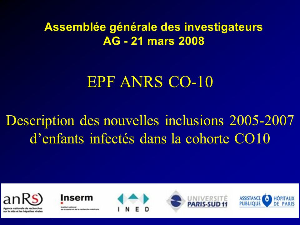 EPF (ANRS CO10) AG 2008 INSERM U822 Circonstances de diagnostic