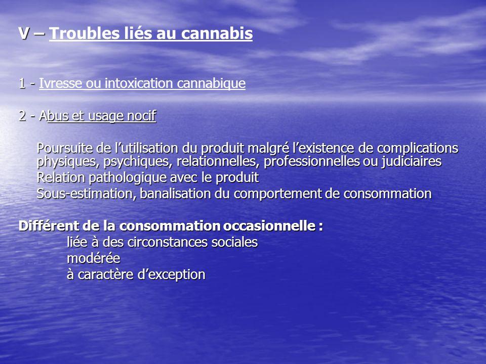 V – V – Troubles liés au cannabis 1 - 1 - Ivresse ou intoxication cannabique 2 - Abus et usage nocif Poursuite de lutilisation du produit malgré lexis