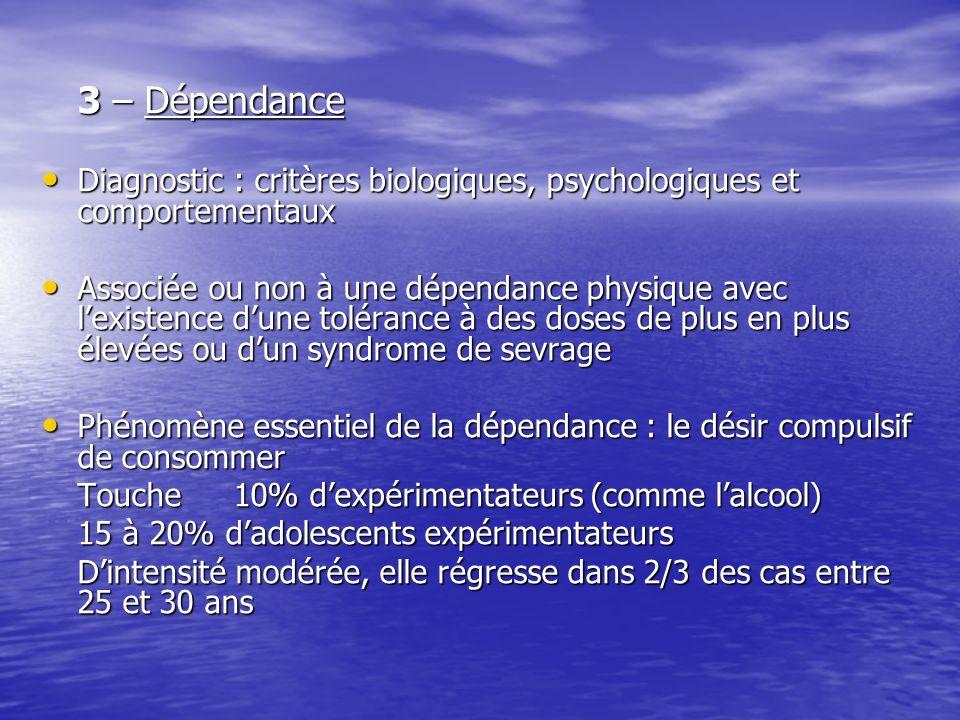 3 – Dépendance Diagnostic : critères biologiques, psychologiques et comportementaux Diagnostic : critères biologiques, psychologiques et comportementa