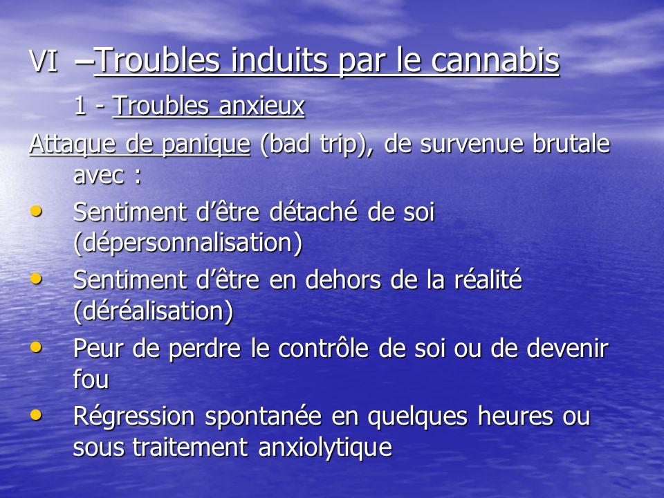 VI – Troubles induits par le cannabis 1 - Troubles anxieux Attaque de panique (bad trip), de survenue brutale avec : Sentiment dêtre détaché de soi (d