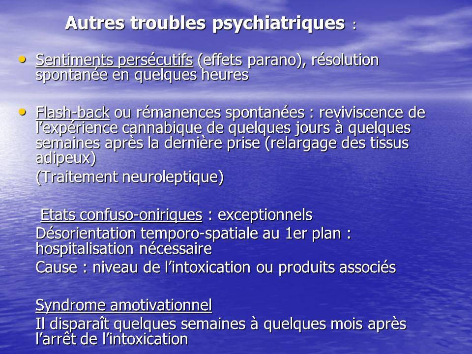 Autres troubles psychiatriques : Autres troubles psychiatriques : Sentiments persécutifs (effets parano), résolution spontanée en quelques heures Sent
