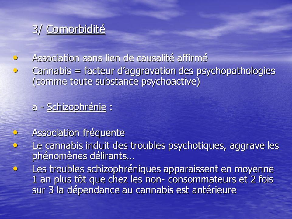 3/ Comorbidité Association sans lien de causalité affirmé Association sans lien de causalité affirmé Cannabis = facteur daggravation des psychopatholo