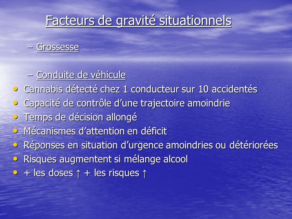 Facteurs de gravité situationnels Facteurs de gravité situationnels –Grossesse –Conduite de véhicule Cannabis détecté chez 1 conducteur sur 10 acciden