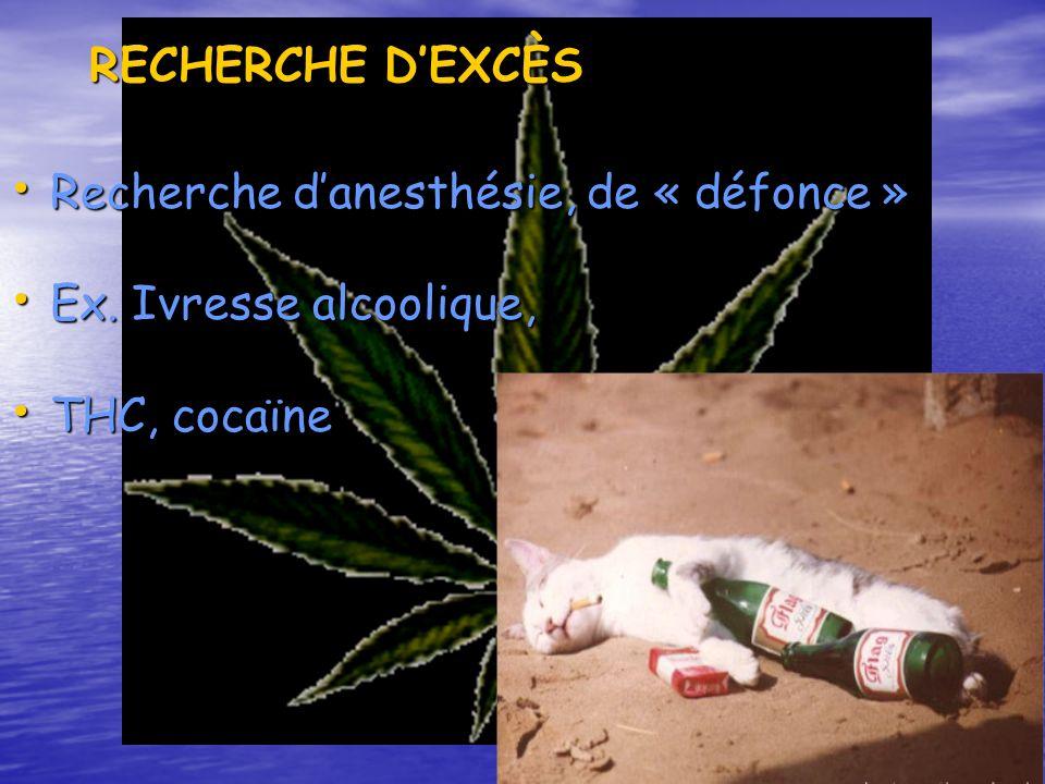 RECHERCHE DEXCÈS Recherche danesthésie, de « défonce » Recherche danesthésie, de « défonce » Ex. Ivresse alcoolique, Ex. Ivresse alcoolique, THC, coca