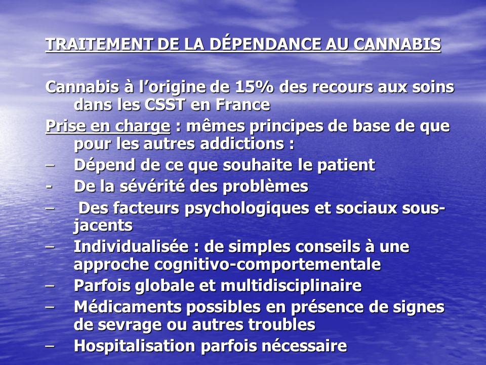 TRAITEMENT DE LA DÉPENDANCE AU CANNABIS Cannabis à lorigine de 15% des recours aux soins dans les CSST en France Prise en charge : mêmes principes de