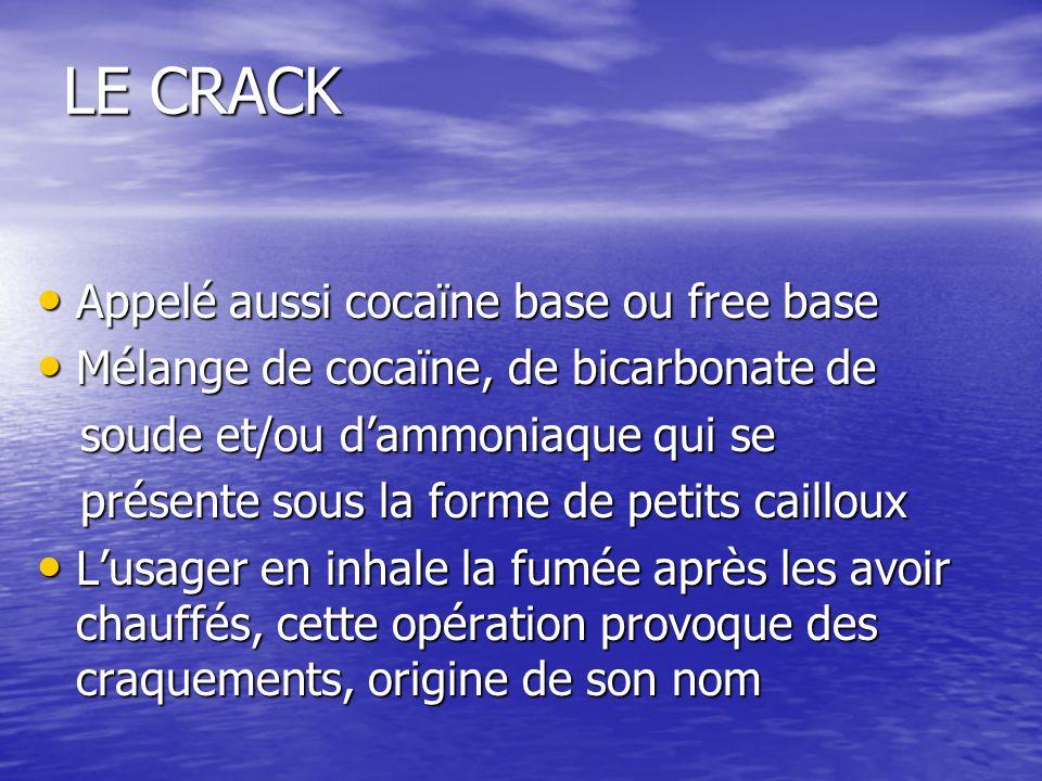 LE CRACK Appelé aussi cocaïne base ou free base Appelé aussi cocaïne base ou free base Mélange de cocaïne, de bicarbonate de Mélange de cocaïne, de bi