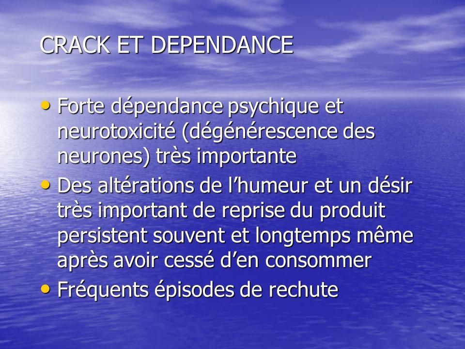 CRACK ET DEPENDANCE Forte dépendance psychique et neurotoxicité (dégénérescence des neurones) très importante Forte dépendance psychique et neurotoxic