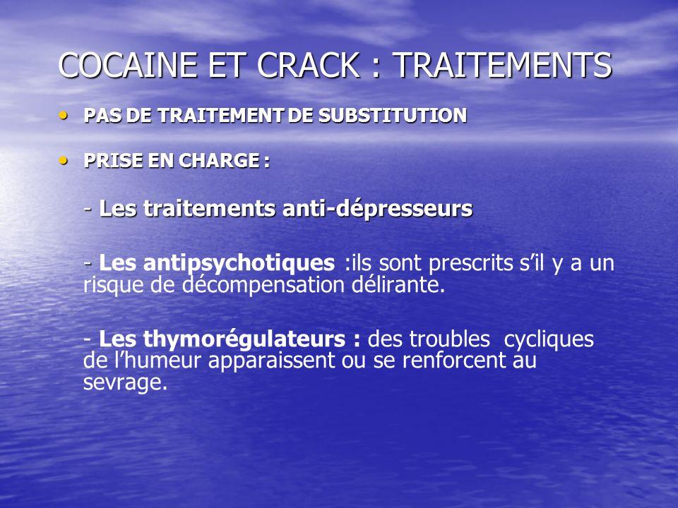 COCAINE ET CRACK : TRAITEMENTS PAS DE TRAITEMENT DE SUBSTITUTION PAS DE TRAITEMENT DE SUBSTITUTION PRISE EN CHARGE : PRISE EN CHARGE : - Les traitemen