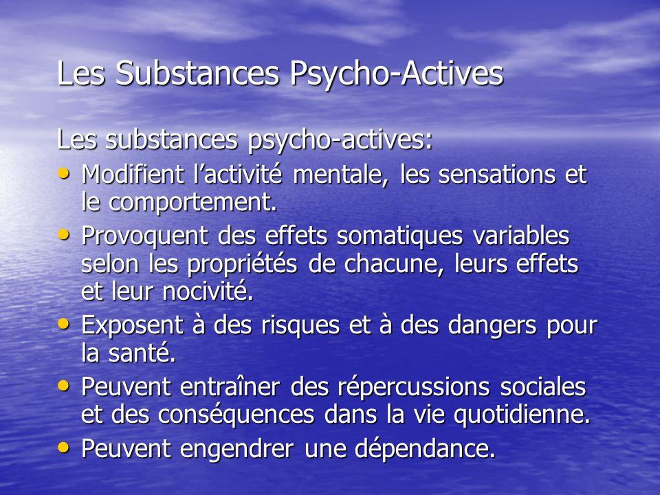 Les Substances Psycho-Actives Les substances psycho-actives: Modifient lactivité mentale, les sensations et le comportement. Modifient lactivité menta