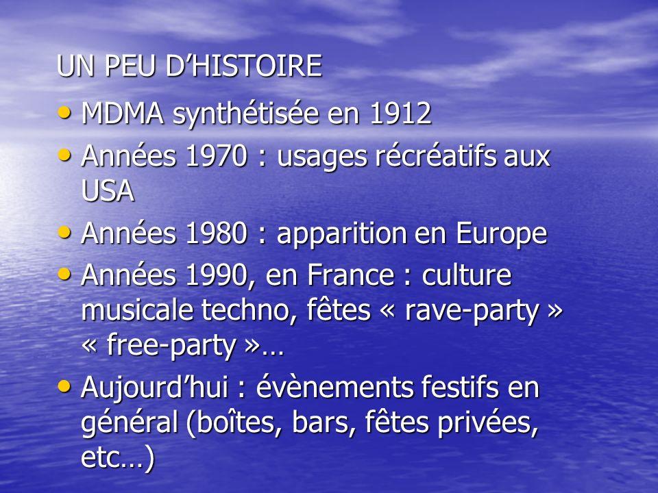 UN PEU DHISTOIRE MDMA synthétisée en 1912 MDMA synthétisée en 1912 Années 1970 : usages récréatifs aux USA Années 1970 : usages récréatifs aux USA Ann