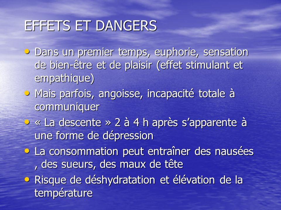 EFFETS ET DANGERS Dans un premier temps, euphorie, sensation de bien-être et de plaisir (effet stimulant et empathique) Dans un premier temps, euphori