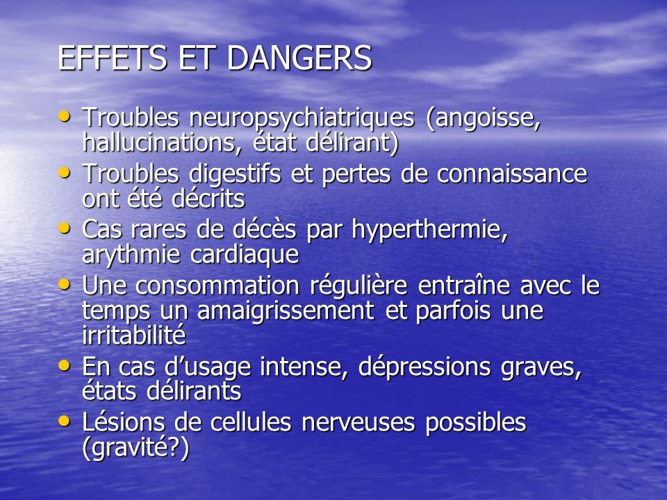 EFFETS ET DANGERS Troubles neuropsychiatriques (angoisse, hallucinations, état délirant) Troubles neuropsychiatriques (angoisse, hallucinations, état