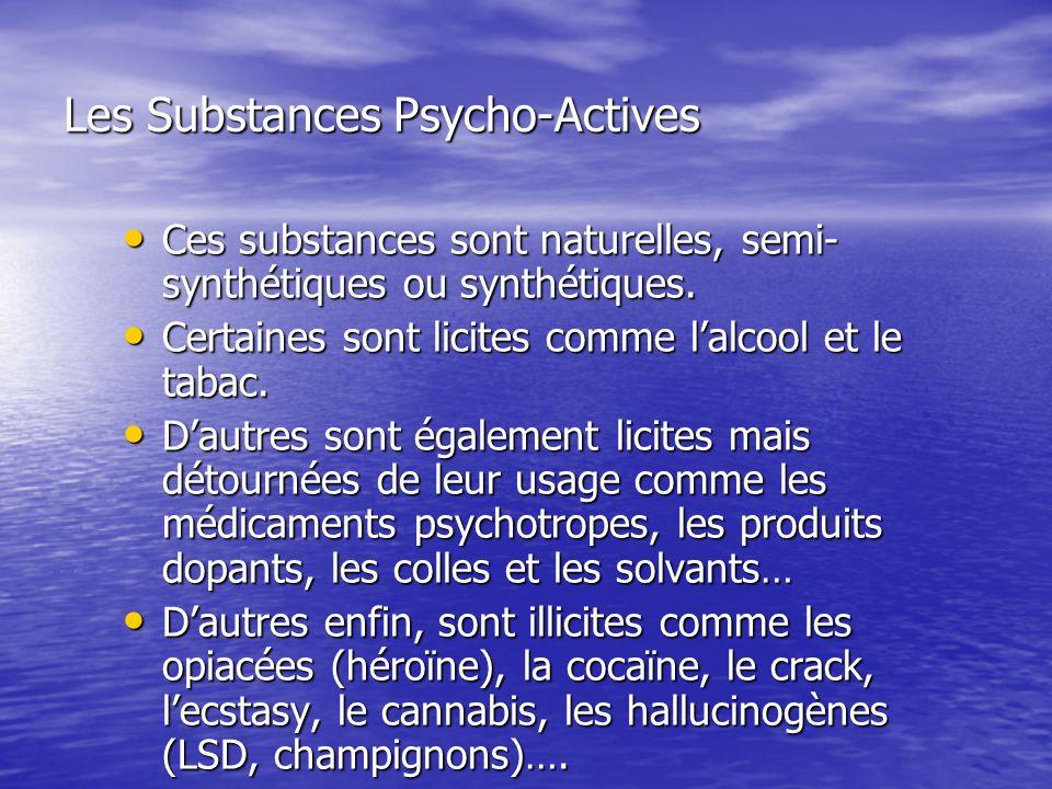 Les Substances Psycho-Actives Ces substances sont naturelles, semi- synthétiques ou synthétiques. Ces substances sont naturelles, semi- synthétiques o