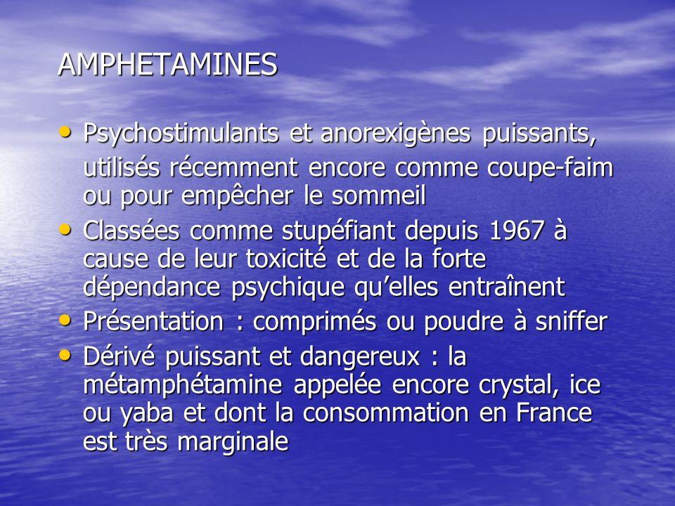 AMPHETAMINES Psychostimulants et anorexigènes puissants, Psychostimulants et anorexigènes puissants, utilisés récemment encore comme coupe-faim ou pou