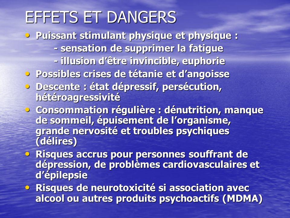 EFFETS ET DANGERS Puissant stimulant physique et physique : Puissant stimulant physique et physique : - sensation de supprimer la fatigue - illusion d