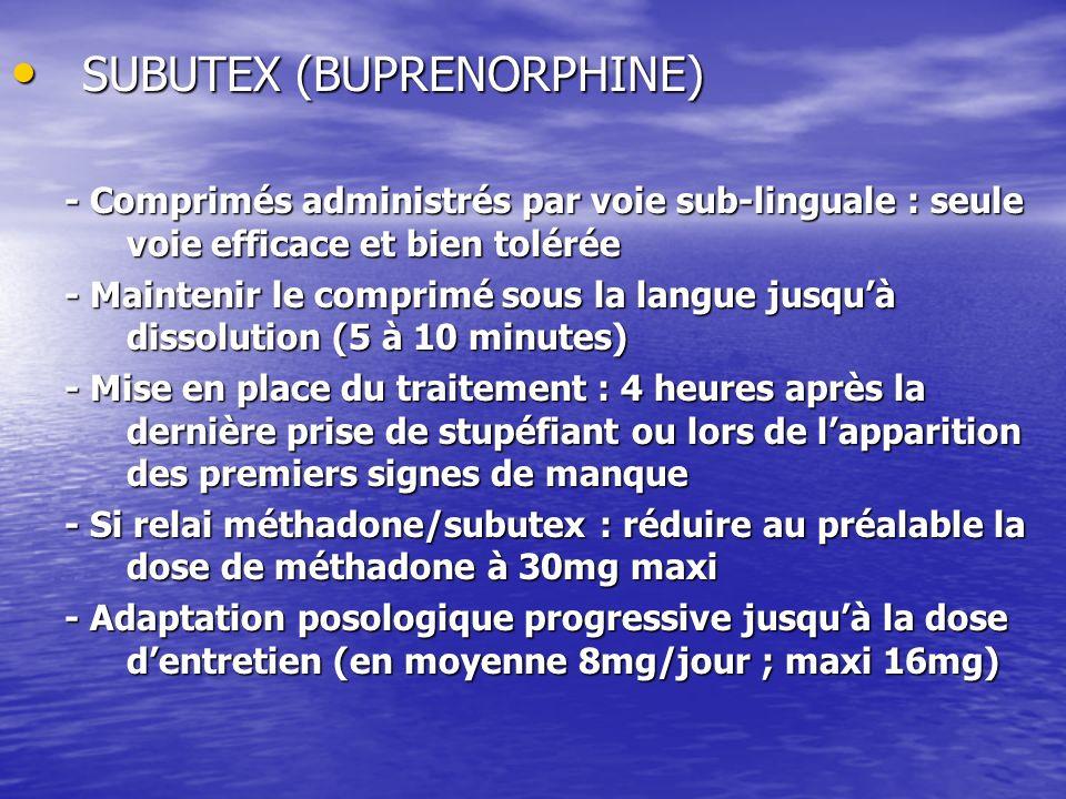 SUBUTEX (BUPRENORPHINE) SUBUTEX (BUPRENORPHINE) - Comprimés administrés par voie sub-linguale : seule voie efficace et bien tolérée - Maintenir le com