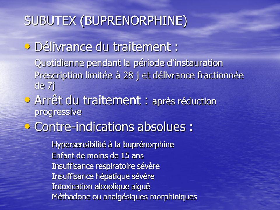 SUBUTEX (BUPRENORPHINE) Délivrance du traitement : Délivrance du traitement : Quotidienne pendant la période dinstauration Prescription limitée à 28 j