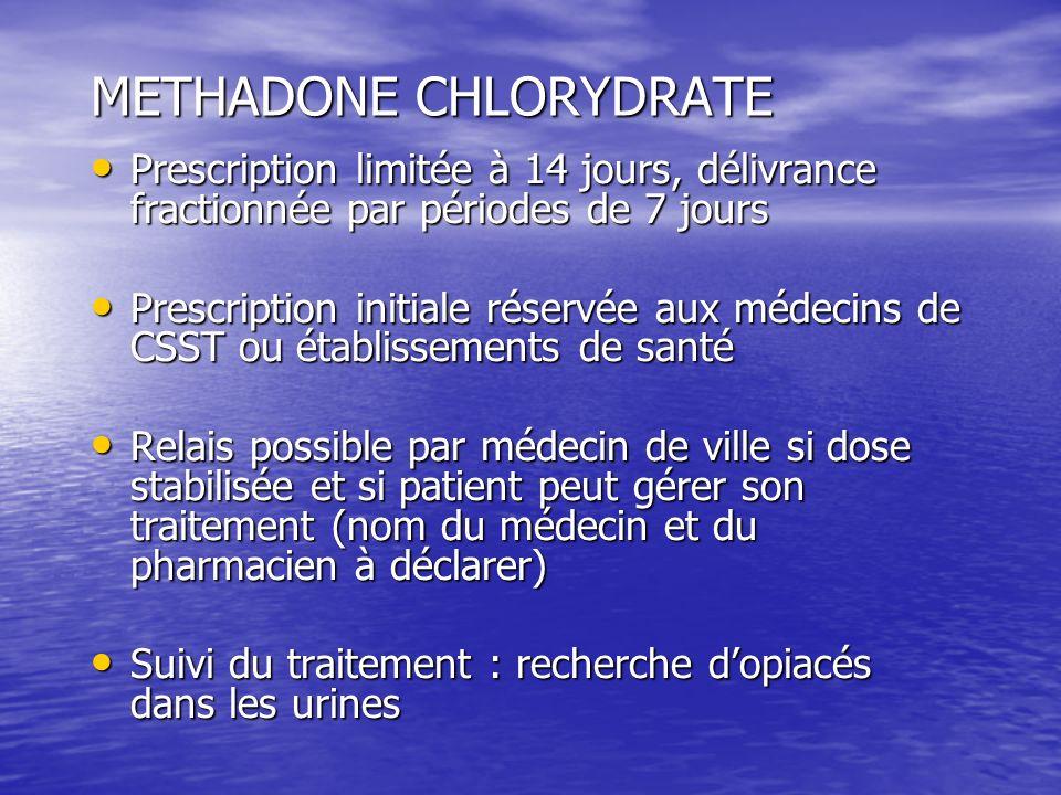 METHADONE CHLORYDRATE Prescription limitée à 14 jours, délivrance fractionnée par périodes de 7 jours Prescription limitée à 14 jours, délivrance frac