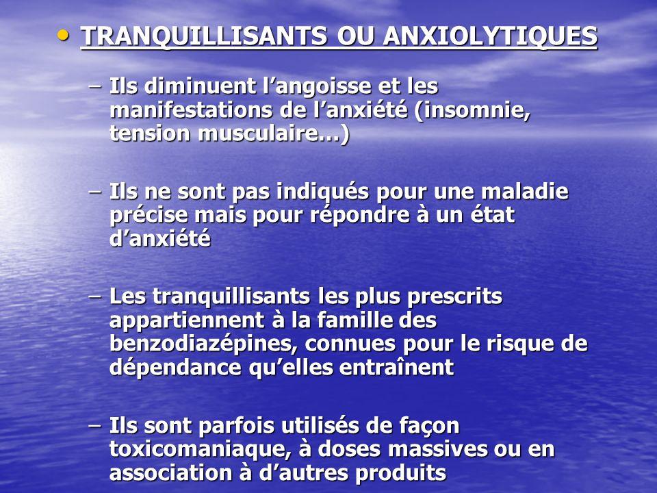 TRANQUILLISANTS OU ANXIOLYTIQUES TRANQUILLISANTS OU ANXIOLYTIQUES –Ils diminuent langoisse et les manifestations de lanxiété (insomnie, tension muscul