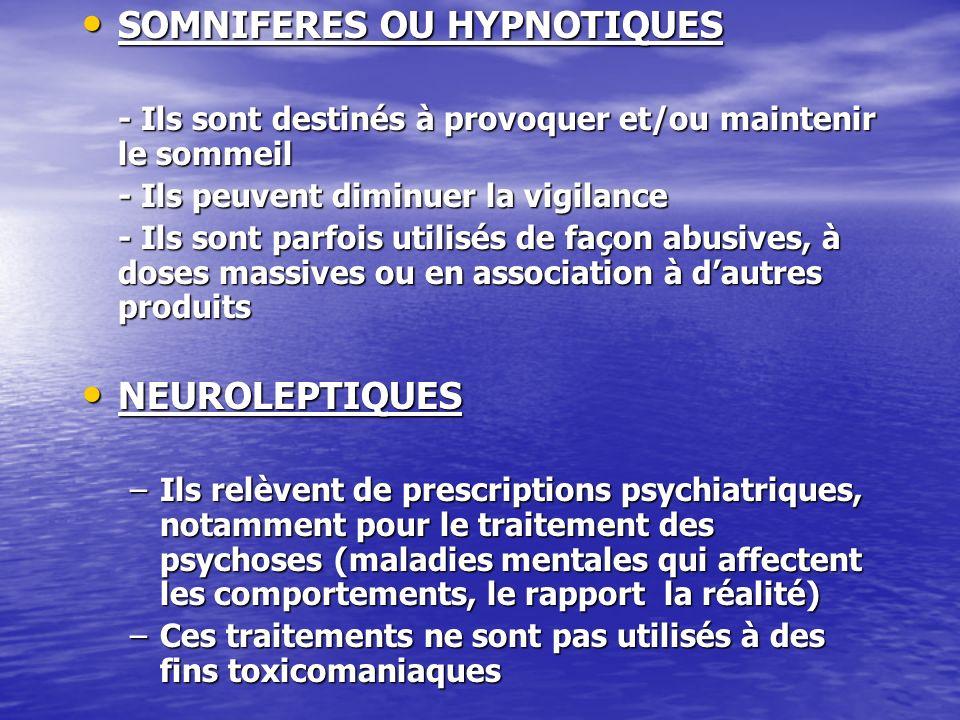 SOMNIFERES OU HYPNOTIQUES SOMNIFERES OU HYPNOTIQUES - Ils sont destinés à provoquer et/ou maintenir le sommeil - Ils peuvent diminuer la vigilance - I