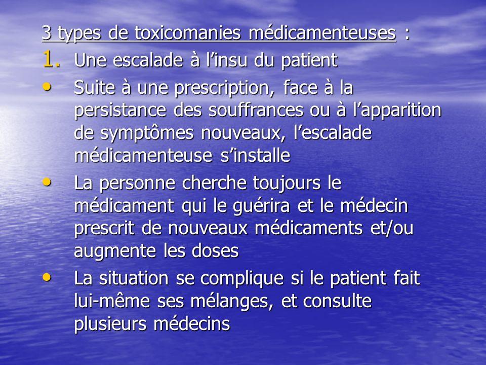 3 types de toxicomanies médicamenteuses : 1. Une escalade à linsu du patient Suite à une prescription, face à la persistance des souffrances ou à lapp