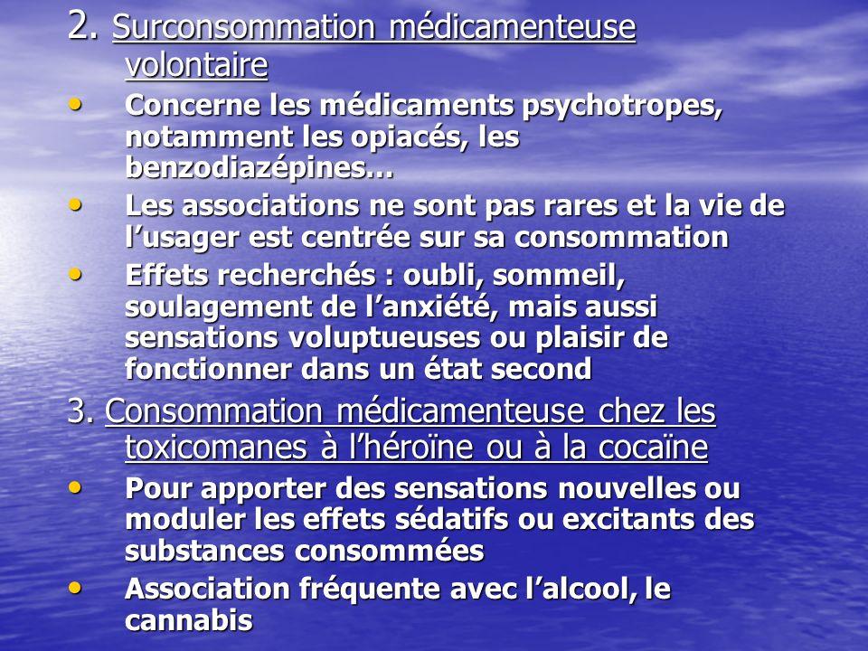 2. Surconsommation médicamenteuse volontaire Concerne les médicaments psychotropes, notamment les opiacés, les benzodiazépines… Concerne les médicamen