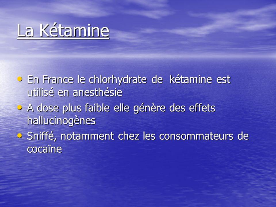 La Kétamine En France le chlorhydrate de kétamine est utilisé en anesthésie En France le chlorhydrate de kétamine est utilisé en anesthésie A dose plu
