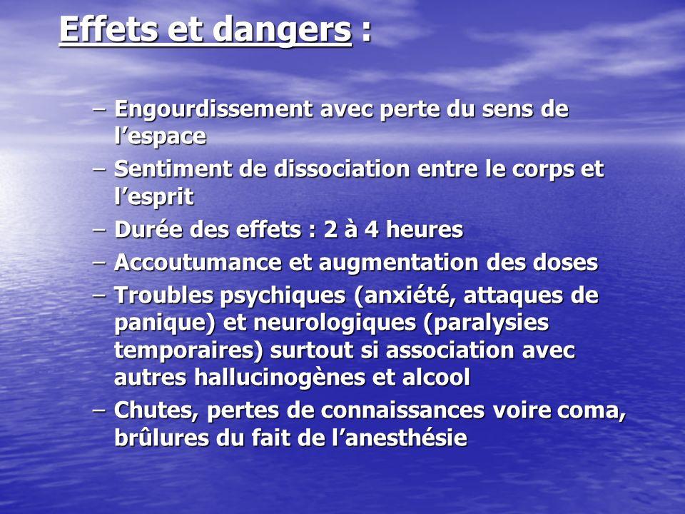 Effets et dangers : –Engourdissement avec perte du sens de lespace –Sentiment de dissociation entre le corps et lesprit –Durée des effets : 2 à 4 heur