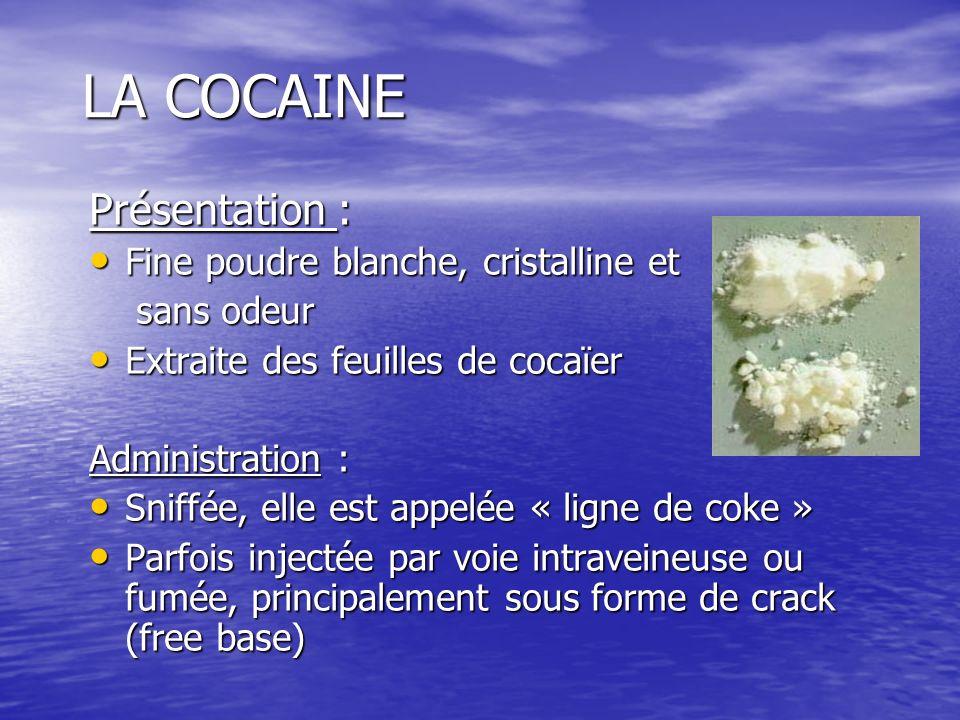 LA COCAINE Présentation : Fine poudre blanche, cristalline et Fine poudre blanche, cristalline et sans odeur sans odeur Extraite des feuilles de cocaï