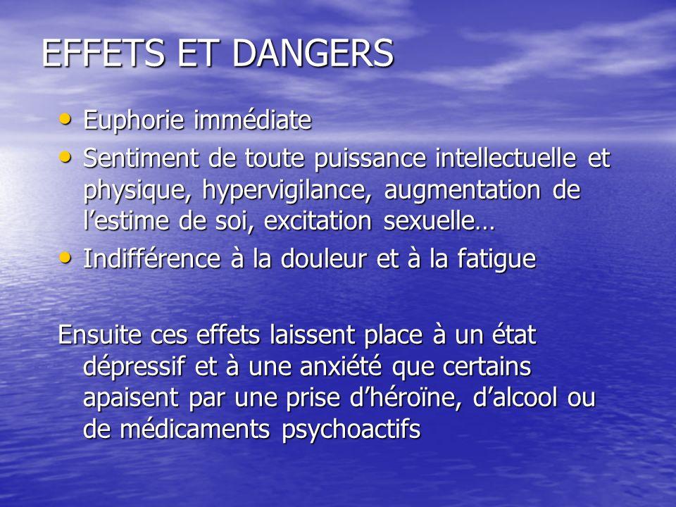 EFFETS ET DANGERS Euphorie immédiate Euphorie immédiate Sentiment de toute puissance intellectuelle et physique, hypervigilance, augmentation de lesti