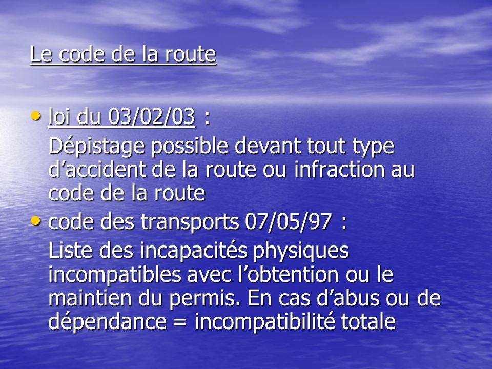 Le code de la route loi du 03/02/03 : loi du 03/02/03 : Dépistage possible devant tout type daccident de la route ou infraction au code de la route co
