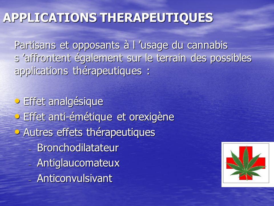 APPLICATIONS THERAPEUTIQUES Partisans et opposants à l usage du cannabis s affrontent également sur le terrain des possibles applications thérapeutiqu