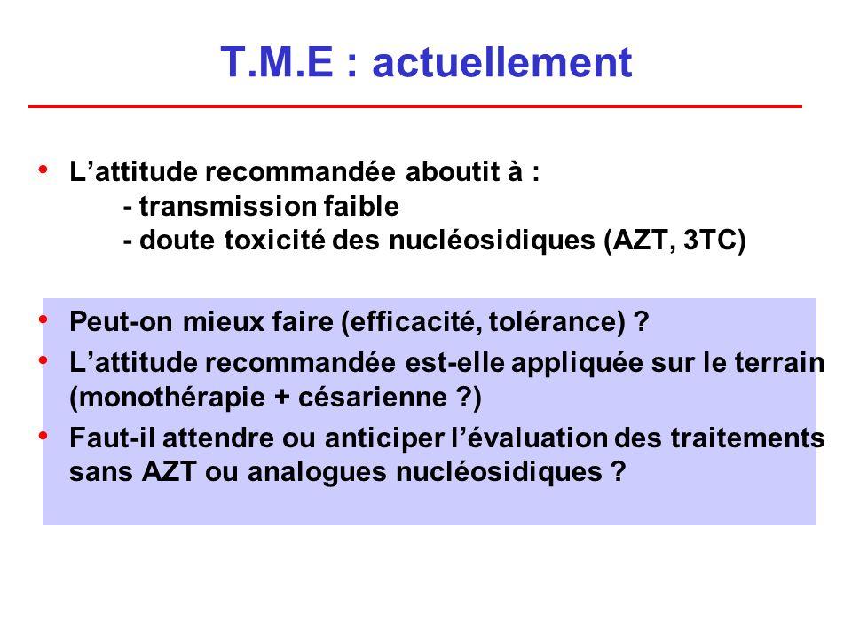 T.M.E : actuellement Lattitude recommandée aboutit à : - transmission faible - doute toxicité des nucléosidiques (AZT, 3TC) Peut-on mieux faire (efficacité, tolérance) .