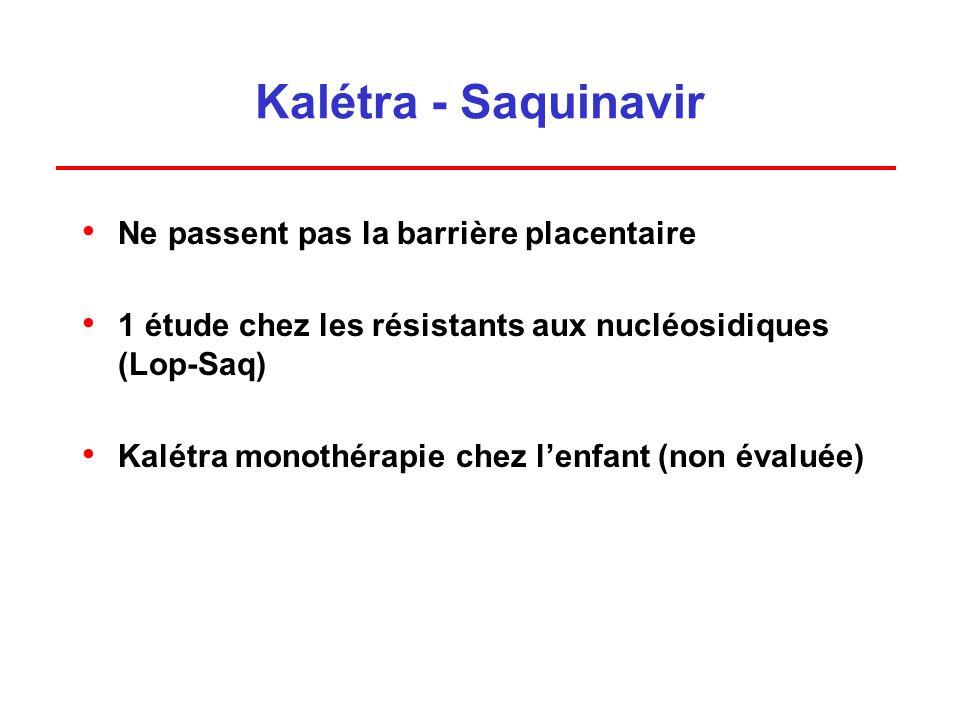 Kalétra - Saquinavir Ne passent pas la barrière placentaire 1 étude chez les résistants aux nucléosidiques (Lop-Saq) Kalétra monothérapie chez lenfant (non évaluée)