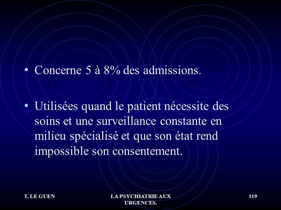 T. LE GUENLA PSYCHIATRIE AUX URGENCES. 119 Concerne 5 à 8% des admissions.