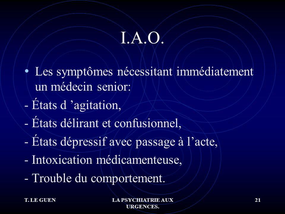 T. LE GUENLA PSYCHIATRIE AUX URGENCES. 21 I.A.O.