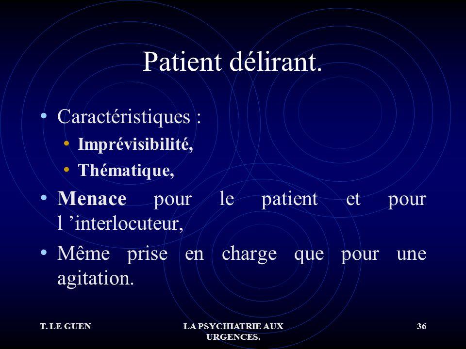 T. LE GUENLA PSYCHIATRIE AUX URGENCES. 36 Patient délirant.