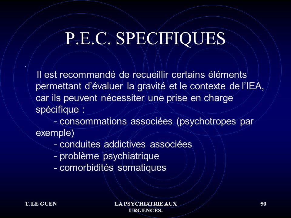 T. LE GUENLA PSYCHIATRIE AUX URGENCES. 50 P.E.C.