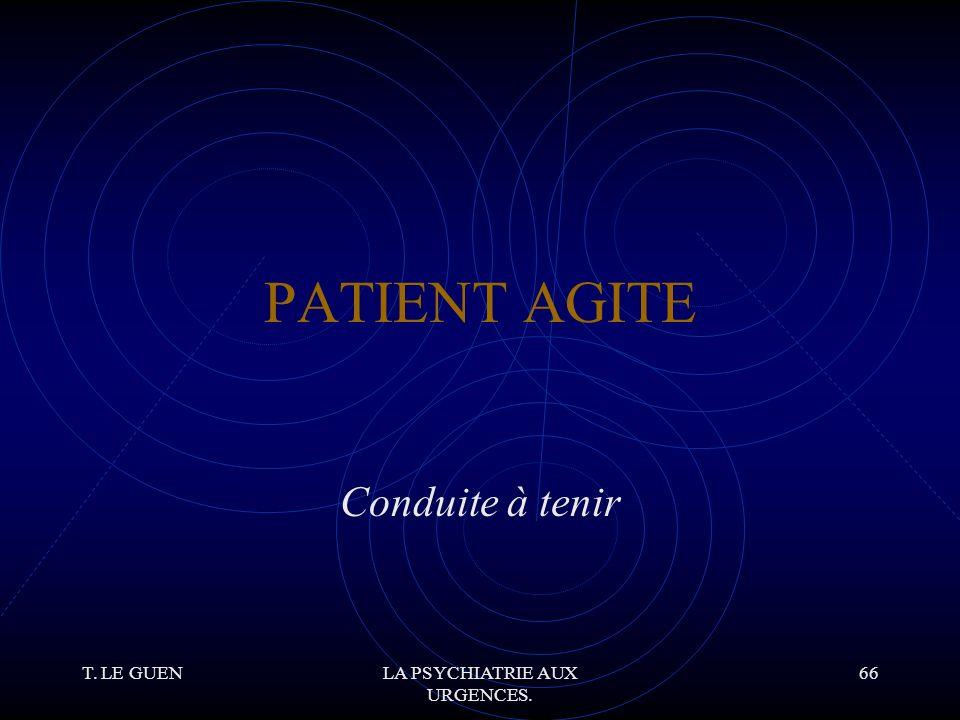 T. LE GUENLA PSYCHIATRIE AUX URGENCES. 66 PATIENT AGITE Conduite à tenir