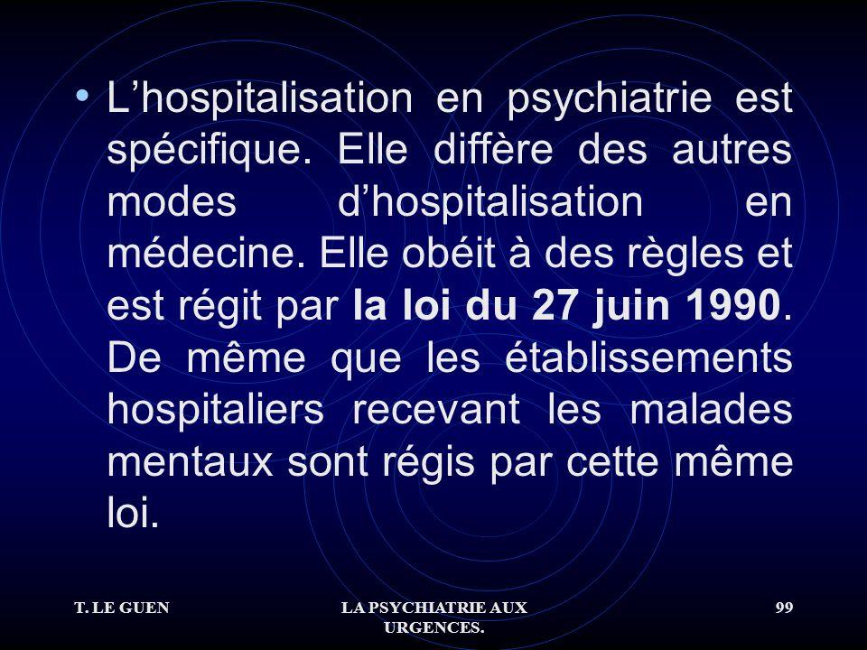 T. LE GUENLA PSYCHIATRIE AUX URGENCES. 99 Lhospitalisation en psychiatrie est spécifique.