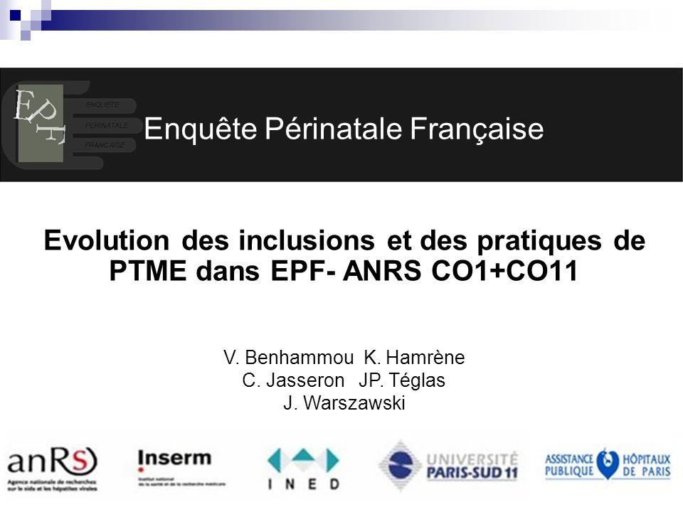 EPF (ANRS CO1-CO11) AG 2007 INSERM U822 Enquête Périnatale Française Evolution des inclusions et des pratiques de PTME dans EPF- ANRS CO1+CO11 V. Benh