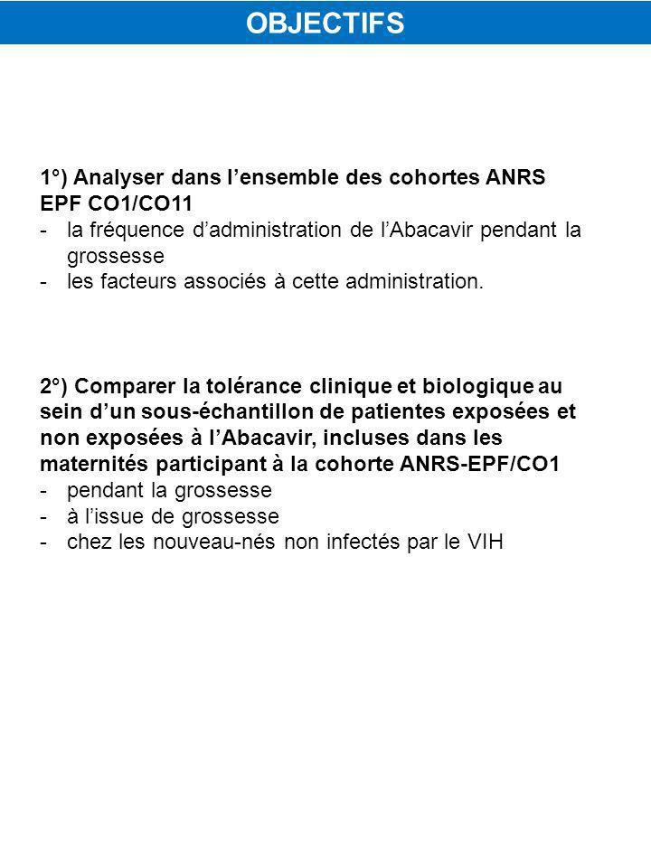 1°) Analyser dans lensemble des cohortes ANRS EPF CO1/CO11 -la fréquence dadministration de lAbacavir pendant la grossesse -les facteurs associés à cette administration.